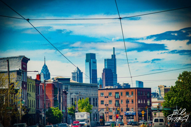 Center-City-From-Girard-Perfect-Shot-Overhead-Trolley-Lines-Blue-Sky
