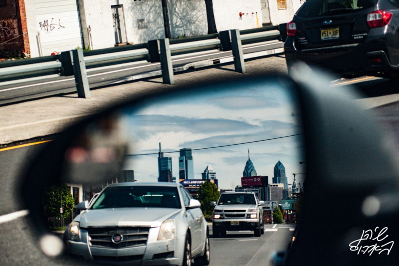 In-Hindsight...-Rearview-Mirror-Philadelphia-Skyline-Cars-Trafffic-Double-Image